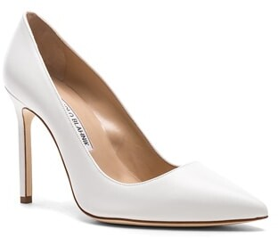 Thumbnail for your product : Manolo Blahnik Leather BB 105 Heels in White