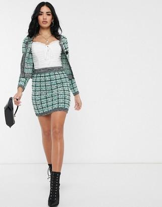 Asos Design DESIGN co-ord tweed stitch knit mini skirt-Green