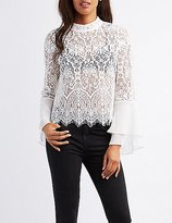 Charlotte Russe Lace & Chiffon Bell Sleeve Top