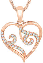 FINE JEWELRY 1/7 CT. T.W. Diamond 10K Rose Gold Heart Pendant Necklace