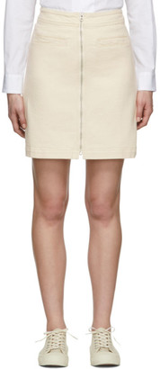YMC Off-White Denim Zip Skirt