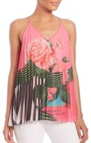 Mary Katrantzou Pleated Rose-Print Tank Top