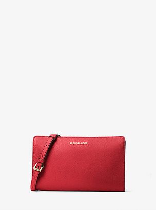 MICHAEL Michael Kors MK Jet Set Large Saffiano Leather Convertible Crossbody Bag - Bright Red - Michael Kors