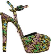 Le Silla 150mm Platform Sandals W/ Woven Pattern
