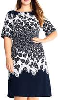 Adrianna Papell Plus Lace Print Fit-and-Flare Dress