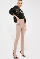 Missguided Nude Faux Suede Pocket Detail Leggings