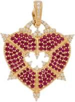 Judith Ripka 14K Gold Ruby & Diamond Heart Enhancer