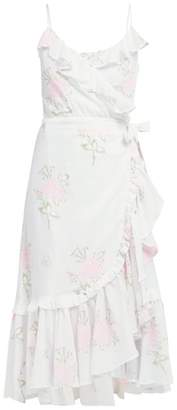 Juliet Dunn Floral-print Ruffled Cotton Wrap Dress - Womens - White