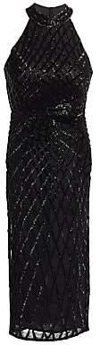 Rachel Gilbert Women's Beaded Halter Sheath Dress