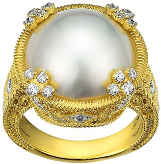 Judith Ripka Sterling & 14K Clad Round Mabe Pearl Ring