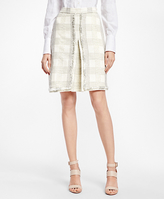 Brooks Brothers Textured Dobby Cotton-Blend Plaid Skirt