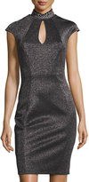 Jax Cap-Sleeve Keyhole Midi Dress, Black/Silver