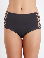 Seafolly High-waisted lattice bikini bottoms