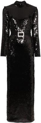 De La Vali Bugsy sequin embellished maxi dress
