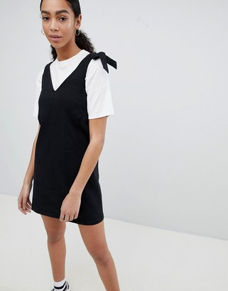 Noisy May mini denim pinafore in black