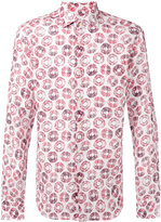 Xacus circles print shirt - men - Linen/Flax - 39