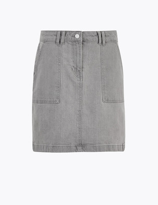 Marks and Spencer Denim Utility Mini A-Line Skirt
