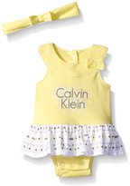 Calvin Klein Baby-Girls Interlock Sun Suit with Headband