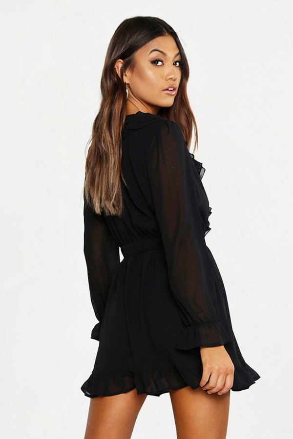 Thumbnail for your product : boohoo Ruffle Plunge Front Skater Dress