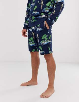 ONLY & SONS parrot print sweat shorts-Blue