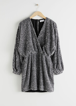 And other stories Sequin Mini Wrap Dress