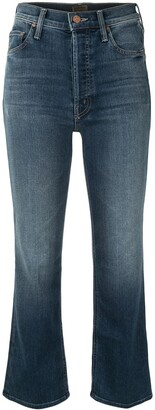 Mother The Tripped flared cropped jeans
