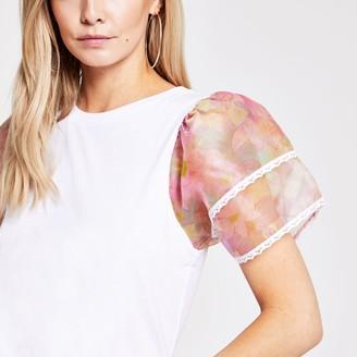 River Island Womens Petite White floral organza sleeve T-shirt