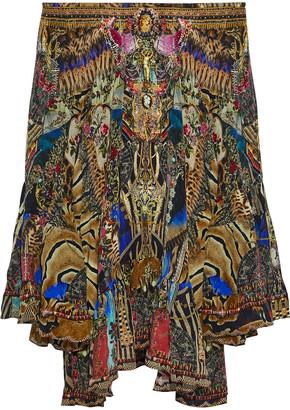 Camilla Stronger Together Off-the-shoulder Printed Silk Crepe De Chine Mini Dress