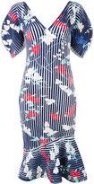 Salvatore Ferragamo structured ribbed print dress