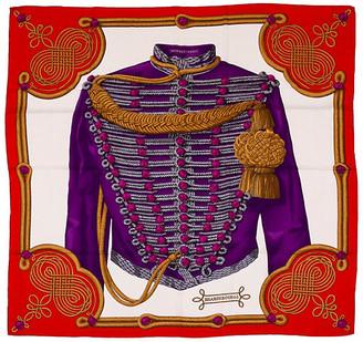 One Kings Lane Vintage Hermes Cashmere Red Brandebourgs Shawl - Vintage Lux - purple/red