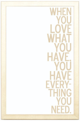 """Petal Lane """"When You Love Have"""" Magnet Board With Gold Frame, 24""""x16"""""""