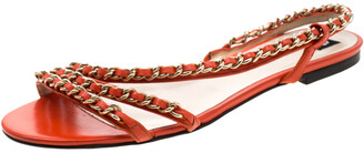 Dolce & Gabbana Orange Leather Chain Slingback Flat Sandals Size 38