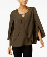 NY Collection Keyhole Cape Blouse