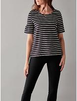 Great Plains Essentials Interlock T-Shirt, Navy/White