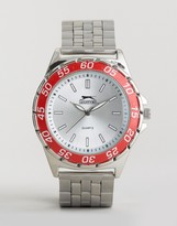 Slazenger Silver Bracelet Watch With Red Case