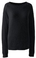 Lands' End Women's Petite Lofty Textured Mix Stitch Boatneck Sweater-Black