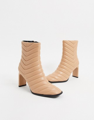 BEIGE Z_Code_Z Misha vegan padded heeled ankle boot in