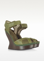 McQ by Alexander McQueen Nubuck and Leather Platform Wedge Sandal