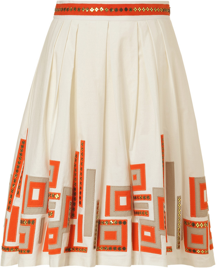 Milly Ivory Perfect Pleated Date Skirt