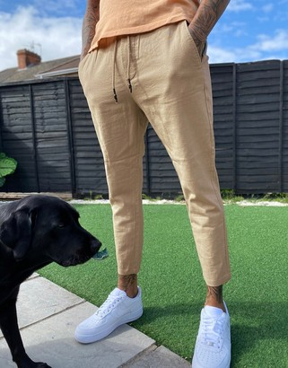 ONLY & SONS linen trouser in slim fit beige