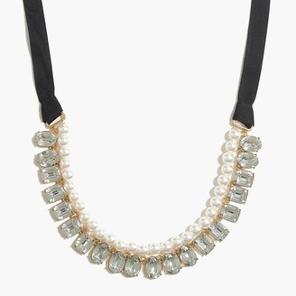 J.Crew Crystal and pearl two-layer statement necklace