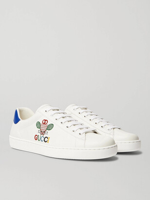 Gucci New Ace Logo-Embroidered Leather Sneakers