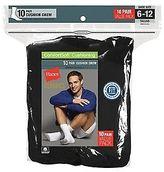 Hanes Classics Men's White Crew Socks 10-Pack