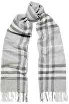 Burberry Fringed Checked Cashmere Scarf - Light gray