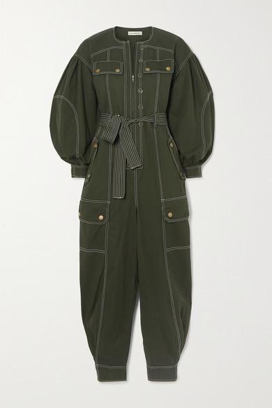 Ulla Johnson Stearling Belted Cotton-twill Jumpsuit - Dark green