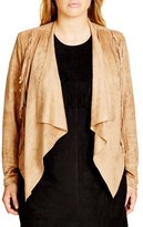 City Chic Faux Suede Fringe Jacket (Plus Size)