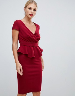 City Goddess v neck peplum midi dress-Red