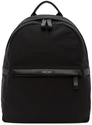 Giorgio Armani Black Nylon Backpack