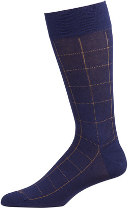 Marcoliani Milano Men's Mousse of Modal Windowpane Socks