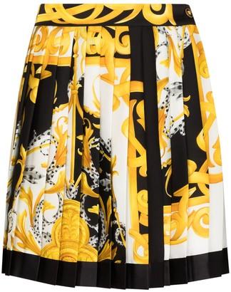 Versace Baroque-Print Skater Skirt